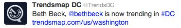 Social Media Week @TrendsDC tweet