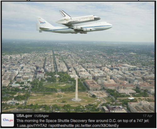 Discovery #SpotTheShuttle @USAgov