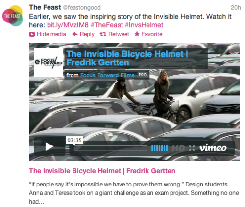 @Feast: Invisible Helmet tweet