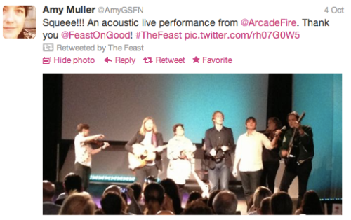 Feast: Amy Muller- Arcade Fire tweet