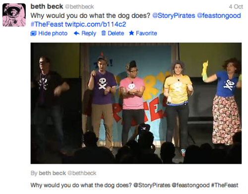 Feast: @BethBeck @StoryPirates tweet