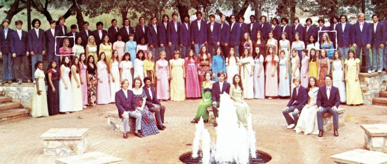 1973 San Marcos HS Choir portrait. Carol @ Left in Pink. Beth @ Right in Blue.