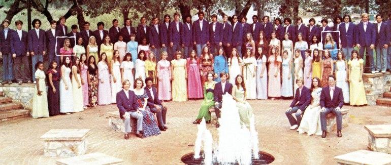 1973 San Marcos HS Choir portrait. Carol @ Left in Pink. Beth @ Right in Blue.
