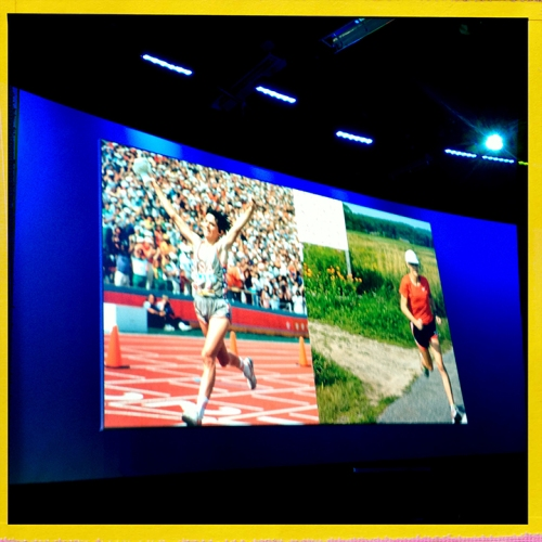 LAUNCH 2020 Summit video screen for Gold Medalist Joan Benoit Samuelson