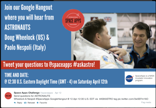 Space Apps Google hangout