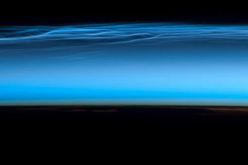 Noctilucent Clouds from Space Station. Image: NASA Expedition 31