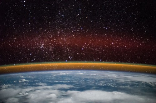Golden Aurora over Earth photographs by ESA's Sam Cristoforetti on Space Station