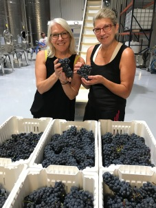 Aimee and Beth in grape heaven.